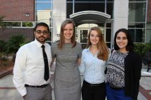 UF students honored with the ASHP award included, l to r, Amit Patel, Emilie Bergsma, Rachael Swisher and Karina Friman.