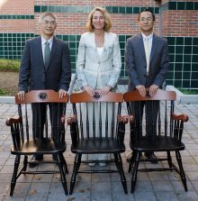 "The UF Health Science Center honored 27 newly endowed professors during its fifth annual Celebrating Distinction Ceremony. Pictured from the College of Pharmacy are, l to r, Drs. Chenglong Li, Almut Winterstein and Chengguo ""Chris"" Xing."